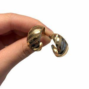 Free People Gold Textured Hoop Post Earrings